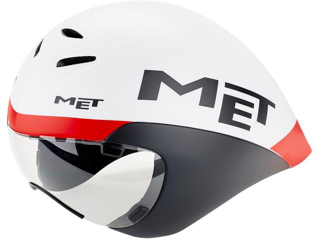 MET Drone Fietshelm, white/black/red